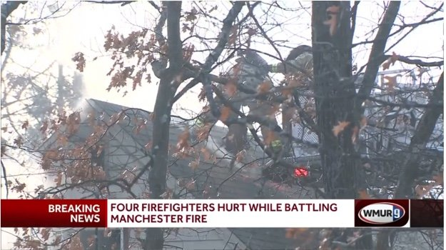 FOUR N H  FIREFIGHTERS BURNED, CUT IN SMOKE, FIRE EXPLOSION