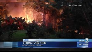 MAUI FIREFIGHTER HURT BATTLING MAKESHIFT STRUCTURE FIRE