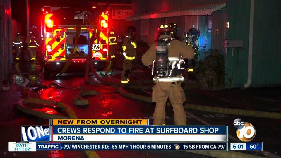 San Diego Firefighter Hurt in Surfboard Shop Fire